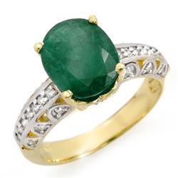 3.83 CTW Emerald & Diamond Ring 10K Yellow Gold - REF-48T2M - 14029