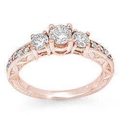 0.95 CTW Certified VS/SI Diamond Ring 14K Rose Gold - REF-129M5H - 11915