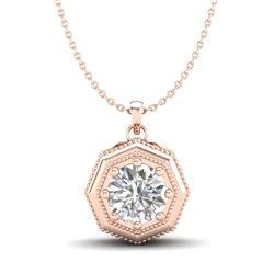 0.75 CTW VS/SI Diamond Solitaire Art Deco Stud Necklace 18K Rose Gold - REF-180M2H - 37098