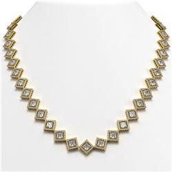 31.92 CTW Princess Cut Diamond Designer Necklace 18K Yellow Gold - REF-5920A2X - 42850