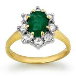 2.02 CTW Emerald & Diamond Ring 14K Yellow Gold - REF-69A3X - 13258