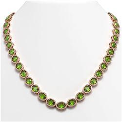 48.14 CTW Peridot & Diamond Halo Necklace 10K Rose Gold - REF-756W5F - 40581