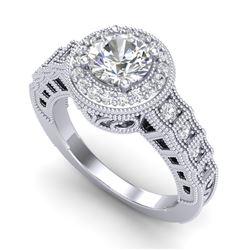 1.53 CTW VS/SI Diamond Art Deco Ring 18K White Gold - REF-454X5T - 36959