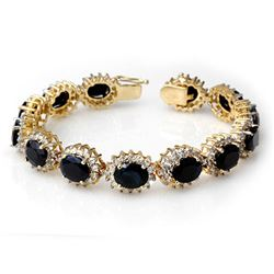 35.69 CTW Blue Sapphire & Diamond Bracelet 14K Yellow Gold - REF-486W4F - 13138