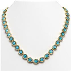 35.13 CTW Swiss Topaz & Diamond Halo Necklace 10K Yellow Gold - REF-592A2X - 41077