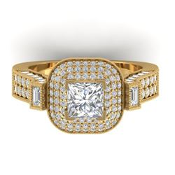 2.85 CTW Princess VS/SI Diamond Art Deco Micro Halo Ring 14K Yellow Gold - REF-555H5A - 30446