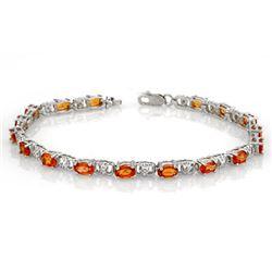 6.02 CTW Orange Sapphire & Diamond Bracelet 14K White Gold - REF-49T6M - 11305