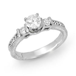 0.90 CTW Certified VS/SI Diamond Solitaire Ring 14K White Gold - REF-131K8W - 14260