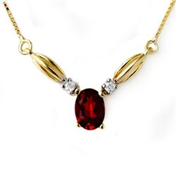 1.30 CTW Garnet & Diamond Necklace 10K Yellow Gold - REF-19Y5K - 12589