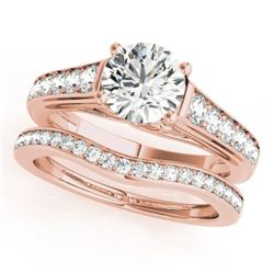 1.2 CTW Certified VS/SI Diamond Solitaire 2Pc Wedding Set 14K Rose Gold - REF-159W3F - 31623