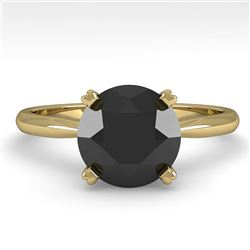 2.0 CTW Black Diamond Engagement Designer Ring 14K Yellow Gold - REF-60W4F - 38477