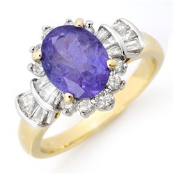 2.90 CTW Tanzanite & Diamond Ring 14K Yellow Gold - REF-114X5T - 14447