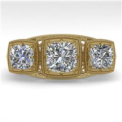 2 CTW Past Present Future VS/SI Cushion Cut Diamond Ring Deco 18K Yellow Gold - REF-481Y6K - 36073
