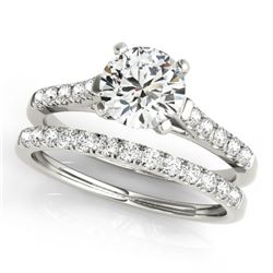 1.02 CTW Certified VS/SI Diamond Solitaire 2Pc Wedding Set 14K White Gold - REF-134H5A - 31688