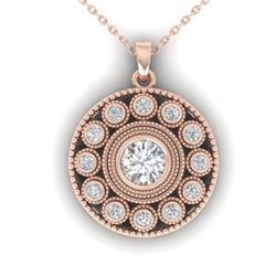 0.91 CTW Certified VS/SI Diamond Art Deco Necklace 14K Rose Gold - REF-121N3Y - 30469