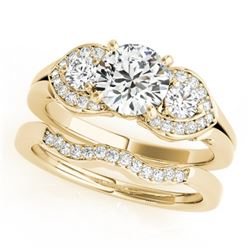 1.8 CTW Certified VS/SI Diamond 3 Stone 2Pc Wedding Set 14K Yellow Gold - REF-521W3F - 32020