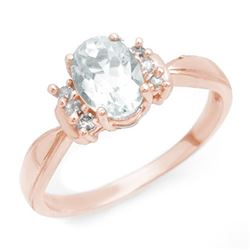 1.06 CTW Aquamarine & Diamond Ring 14K Rose Gold - REF-30F9N - 14402
