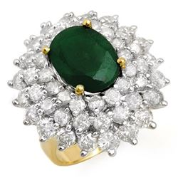 10.02 CTW Emerald & Diamond Ring 14K Yellow Gold - REF-332Y9K - 13305