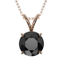 1 CTW Fancy Black VS Diamond Solitaire Necklace 10K Rose Gold - REF-26Y3K - 33186