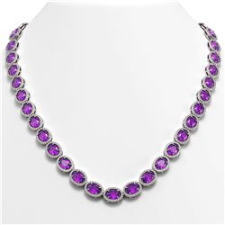 45.16 CTW Amethyst & Diamond Halo Necklace 10K White Gold - REF-560Y2K - 40592