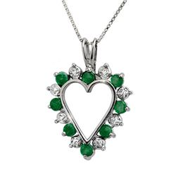 0.80 CTW Emerald & Diamond Pendant 18K White Gold - REF-40H2A - 12671