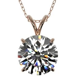 2.53 CTW Certified H-SI/I Quality Diamond Solitaire Necklace 10K Rose Gold - REF-870X2T - 36819