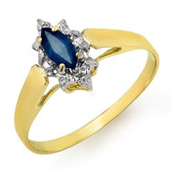 0.33 CTW Blue Sapphire Ring 10K Yellow Gold - REF-10H2A - 12988
