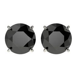 3.18 CTW Fancy Black VS Diamond Solitaire Stud Earrings 10K White Gold - REF-66A8X - 36697
