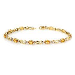 2.26 CTW Citrine & Diamond Bracelet 10K Yellow Gold - REF-27A3X - 13002