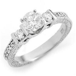 1.0 CTW Certified VS/SI Diamond Ring 18K White Gold - REF-161W8F - 11535
