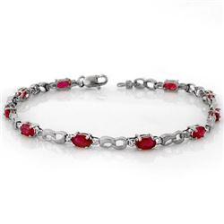 3.51 CTW Ruby & Diamond Bracelet 10K White Gold - REF-29M3H - 11400