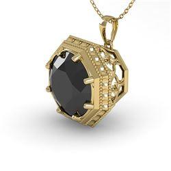 1.50 CTW Black Diamond Solitaire Necklace 18K Yellow Gold - REF-50A9X - 36013
