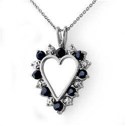 1.10 CTW Blue Sapphire & Diamond Pendant 14K White Gold - REF-21H6A - 12658