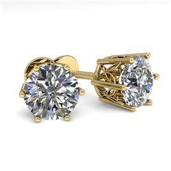 2.0 CTW Certified VS/SI Diamond Stud Solitaire Earrings 18K Yellow Gold - REF-490Y4K - 35845