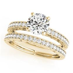 0.9 CTW Certified VS/SI Diamond Solitaire 2Pc Wedding Set Antique 14K Yellow Gold - REF-130M8H - 314