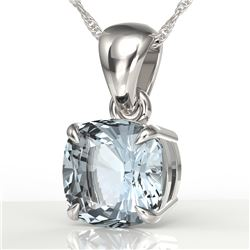 1.50 CTW Cushion Cut Sky Blue Topaz Designer Solitaire Necklace 18K White Gold - REF-23N5Y - 21966