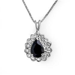 1.10 CTW Blue Sapphire Pendant 18K White Gold - REF-19W3F - 13637