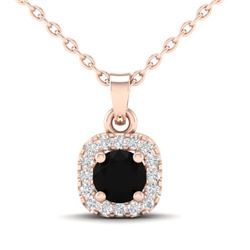 0.47 CTW Micro Pave VS/SI Diamond Heart Necklace Designer Halo 14K Rose Gold - REF-30A2X - 21302