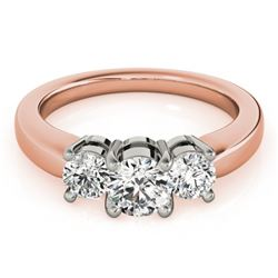 1.45 CTW Certified VS/SI Diamond 3 Stone Ring 18K Rose Gold - REF-240X2T - 28072