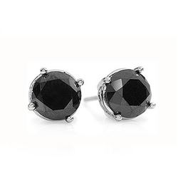1.0 CTW VS Certified Black Diamond Solitaire Stud Earrings 14K White Gold - REF-31K3W - 14171