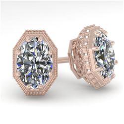 1.0 CTW VS/SI Oval Cut Diamond Stud Solitaire Earrings 18K Rose Gold - REF-169N3Y - 35957