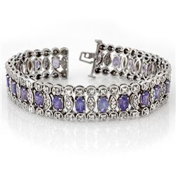 17.50 CTW Tanzanite & Diamond Bracelet 18K White Gold - REF-578T2M - 14626