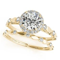 1.36 CTW Certified VS/SI Diamond 2Pc Wedding Set Solitaire Halo 14K Yellow Gold - REF-371F8N - 30863