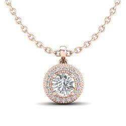 1 CTW VS/SI Diamond Solitaire Art Deco Stud Necklace 18K Rose Gold - REF-180H2A - 36966