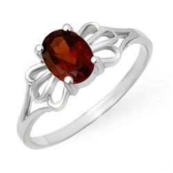 1.0 CTW Garnet Ring 10K White Gold - REF-10H9A - 12279