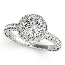 1.51 CTW Certified VS/SI Diamond Solitaire Halo Ring 18K White Gold - REF-398K5W - 26937