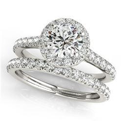 1.71 CTW Certified VS/SI Diamond 2Pc Wedding Set Solitaire Halo 14K White Gold - REF-389W6F - 30840