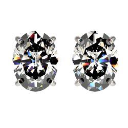 2.50 CTW Certified VS/SI Quality Oval Diamond Stud Earrings 10K White Gold - REF-840T2M - 33111