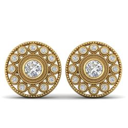 1.11 CTW Certified VS/SI Diamond Art Deco Stud Earrings 14K Yellow Gold - REF-134M5H - 30467