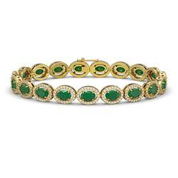 15.2 CTW Emerald & Diamond Halo Bracelet 10K Yellow Gold - REF-255M3H - 40453